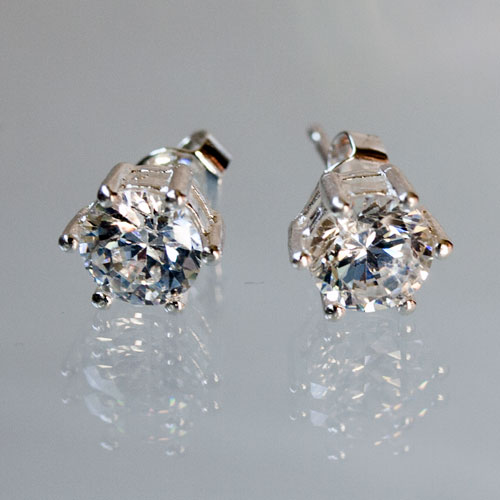 Crystal silver post earring