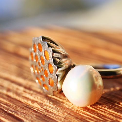 Lotus seed pearl silver ring